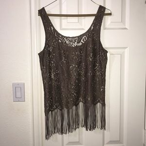 Lace and fringe tank top